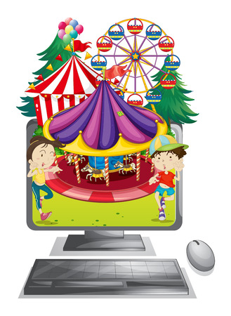 amusement park rides: Computer screen with children at carnival illustration