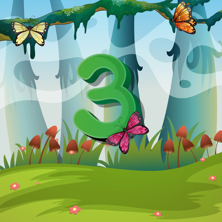 numbers background: Number three with 3 butterflies in garden illustration Illustration