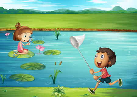pond water: Boy and girl playing by the pond illustration