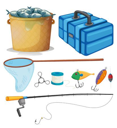 bait box: Fishing set with fishing pole and tools illustration