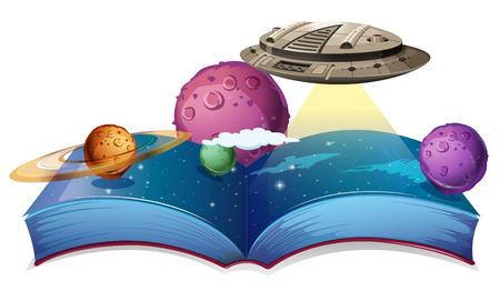 astronomie: Buch der Astronomie mit Raumschiff in der Galaxie Illustration Illustration