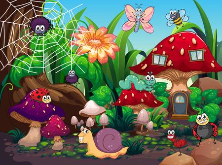 Les insectes qui vivent ensemble dans l'illustration de jardin