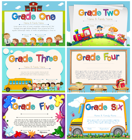 reconocimiento: Diploma plantillas para ilustración de la escuela primaria