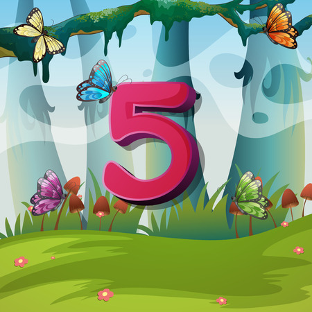 Number five with 5 butterflies in garden illustration Illustration
