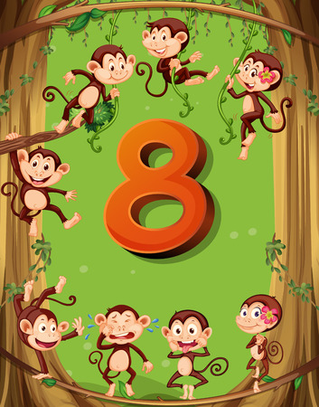 numbers background: Number eight with 8 monkeys on the tree illustration Illustration