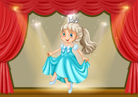 stage costume: Girl in princess costume on stage illustration