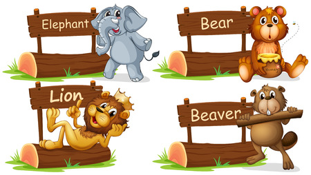 animals in the wild: Four wild animals with wooden sign illustration