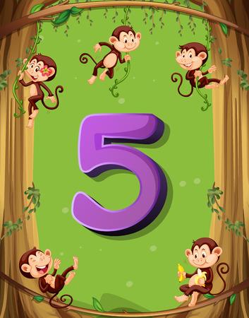 blatt: Nummer fünf mit 5 Affen auf dem Baum Illustration