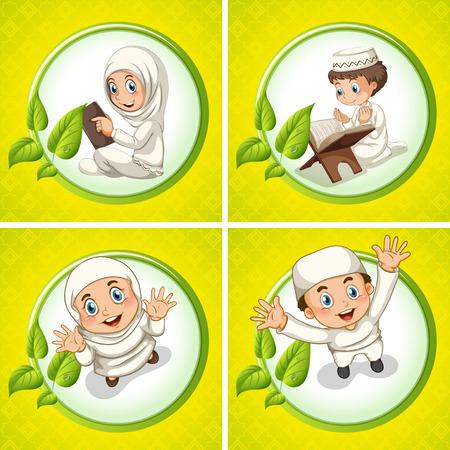 petite fille musulmane: gar�on musulman et une fille priant illustration