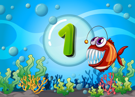 numbers background: Flashcard number one with 1 fish underwater illustration