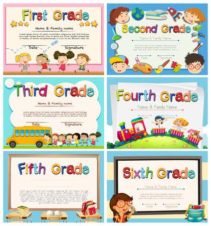 Certificaten voor kinderen in de lagere school illustratie