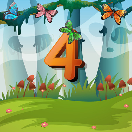 Number four with 4 butterflies in garden illustration Illustration