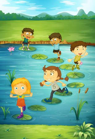 stepping on: Children stepping on lotus leaves illustration Illustration