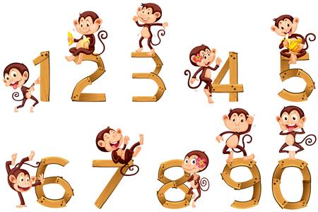 numero diez: El número uno hasta diez Con los monos ilustración Vectores
