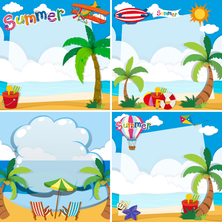 ocean background: Border design with summer theme illustration