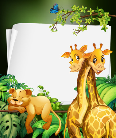young leaves: Border deisgn with giraffes and lion in the woods illustration Illustration