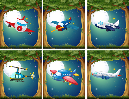 hovercraft: Airplanes and copters flying at night illustration Illustration