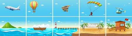 balon de voley: Escena de la naturaleza con el océano y la playa de la ilustración Vectores