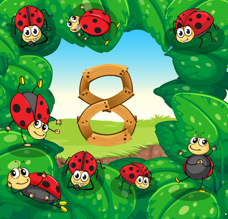 learning series: Ladybugs on leaves with number 8 illustration
