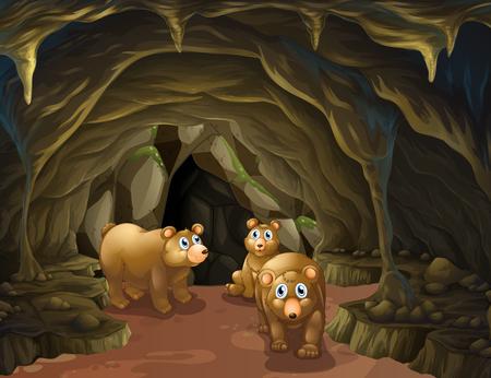 jaskinia: Niedźwiedzia rodzina mieszkająca na ilustracji jaskini