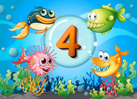 numbers background: Flashcard number 4 with 4 fish underwater illustration