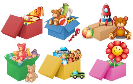 Seis cajas de ilustración juguetes