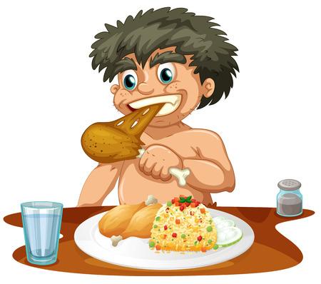 chicken rice: Man eating chicken and rice illustration Illustration