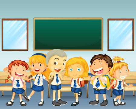 school table: Students in uniform standing in classroom illustration Illustration