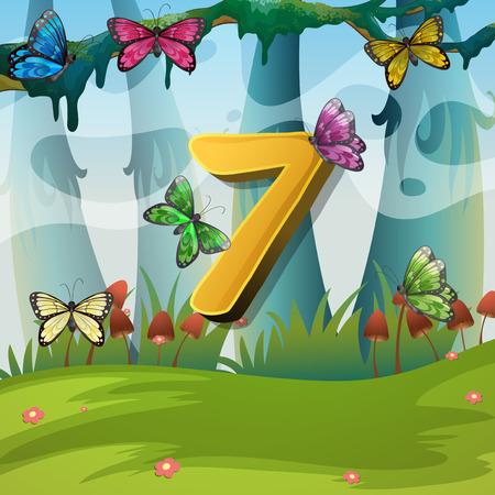 Number seven with 7 butterflies in garden illustration