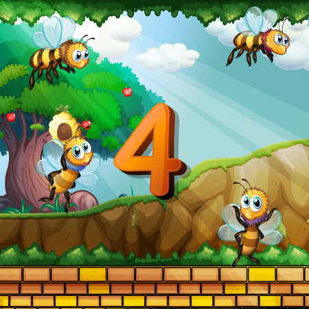 numbers clipart: Number four with 4 bees flying in garden illustration Illustration