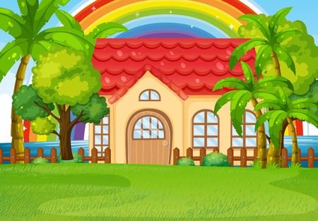 frontyard: Single house with green lawn illustration