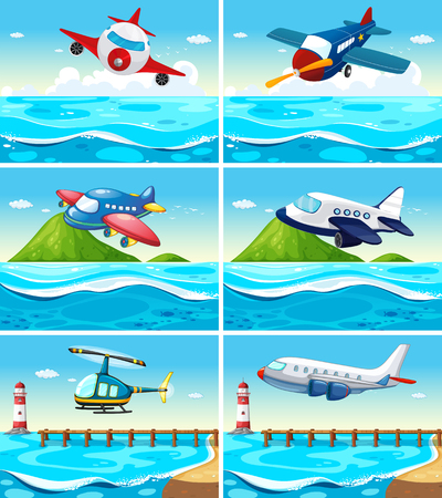 the hovercraft: Airplanes and helicopters over the ocean illustration