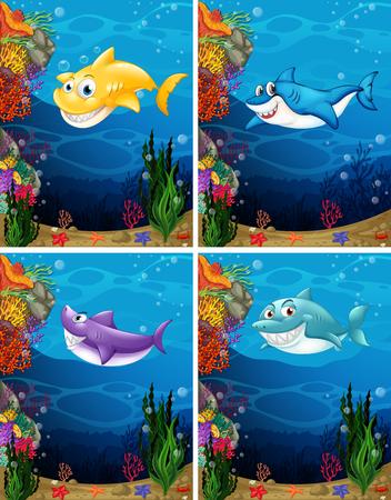 fish clipart: Sharks swimming under the sea illustration