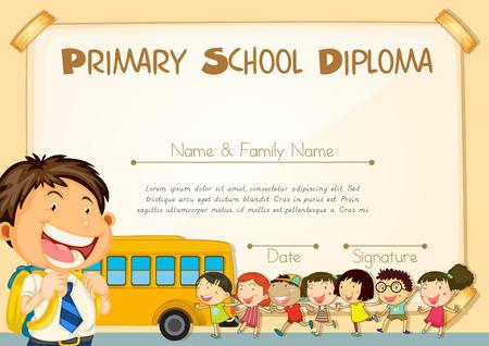 ni�o escuela: Modelo del diploma con los ni�os y la ilustraci�n del autob�s escolar