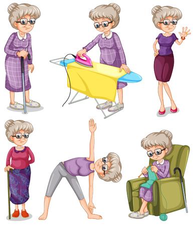 Oude vrouw in verschillende acties illustratie
