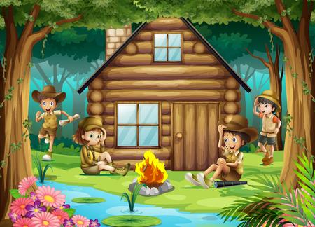 selva: Los niños y niñas de camping en la ilustración de maderas