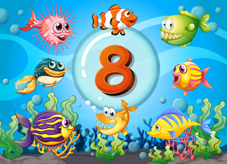 numbers counting: Flashcard number eight with 8 fish underwater illustration