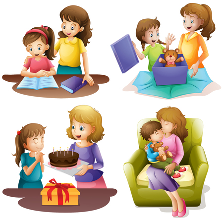 tarea escolar: Madre y niño que hacen diferentes actividades de ilustración Vectores