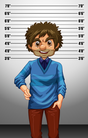height: Man with measuring height illustration