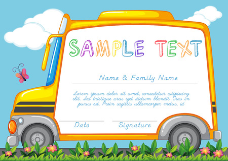 school picture: Certificate template with school bus illustration Illustration