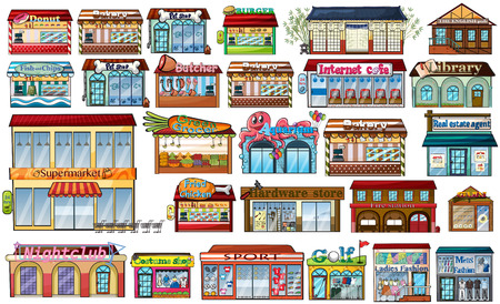 sop: Different shops and buildings illustration