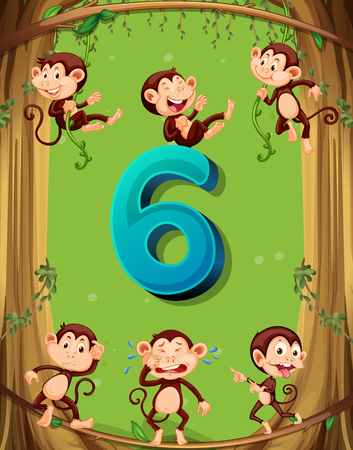 numbers clipart: Number six with 6 monkeys on the tree illustration