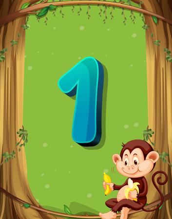 numbers background: Number one with only one monkey in the tree illustration