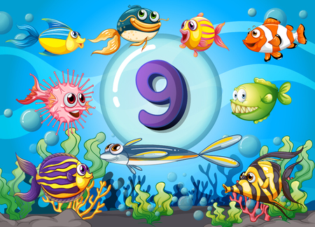 numbers background: Flashcard number nine with nine fish underwater illustration