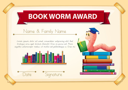book worm: Bookworm award template with books and worm illustration