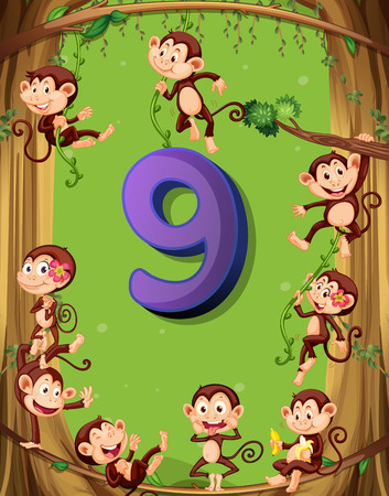 numbers background: Number nine with 9 monkeys on the tree illustration Illustration