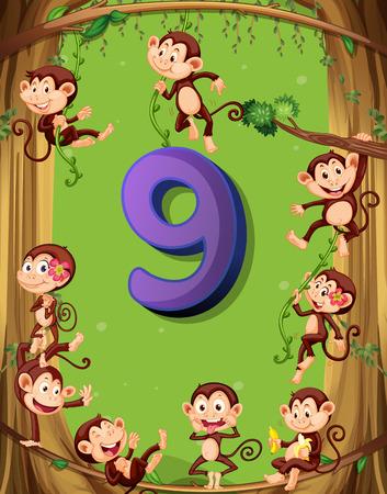 blatt: Nummer neun mit neun Affen auf dem Baum Illustration