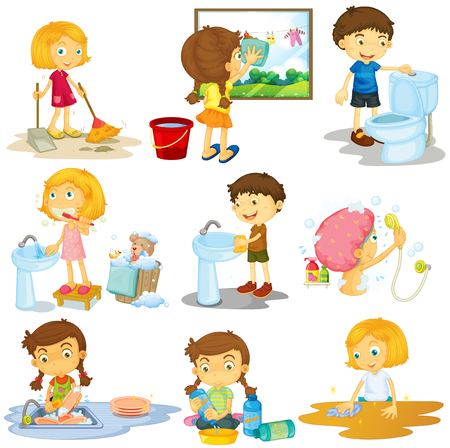 teeth cleaning: Children doing different chores illustration