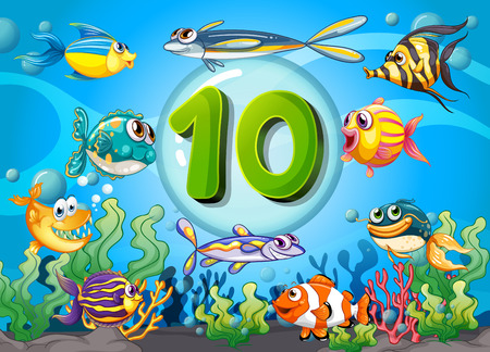 underwater: Flashcard number ten with 10 fish underwater illustration