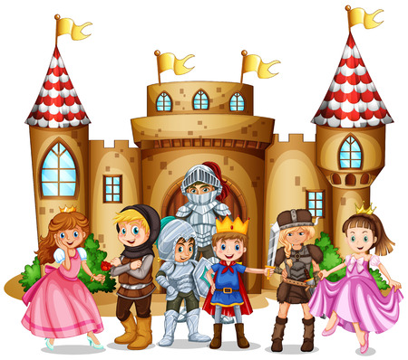Characters from fairytales and castle illustration Vectores